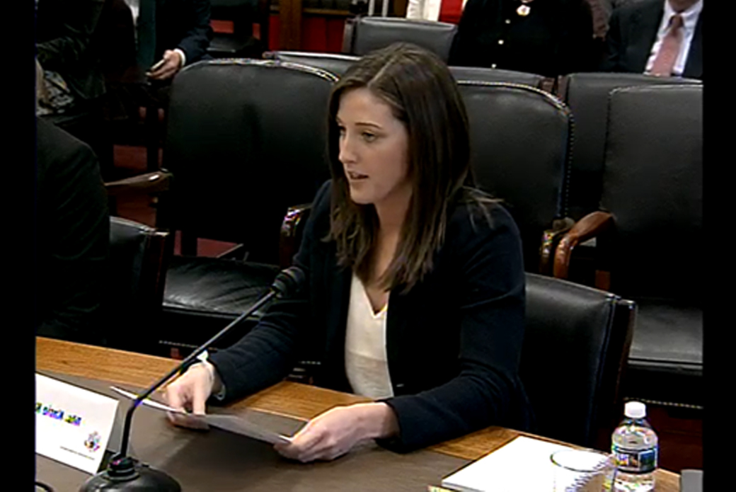 Woman testifying in front of Congress